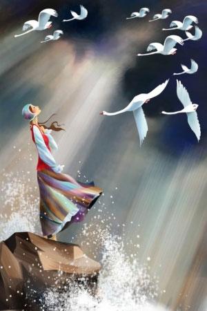 Иллюстрация к сказке Андерсена 'Дикие лебеди'