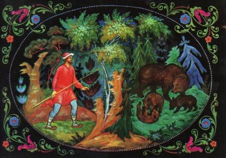 Иллюстрация к сказке Пушкина 'О медведихе'