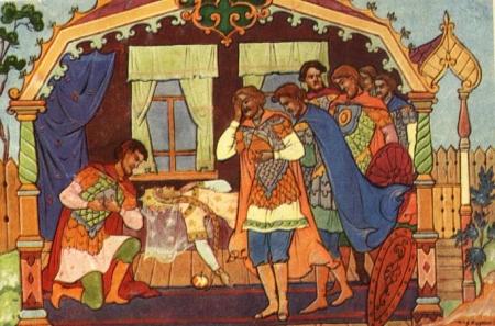 Иллюстрация к сказе Пушкина 'О мертвой царевне и о семи богатырях'