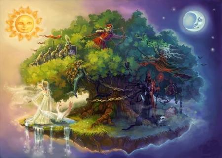 Иллюстрация к сказке Пушкина 'У Лукоморья дуб зеленый'