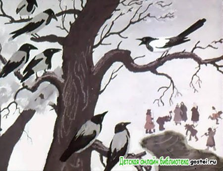 Сорока рассказывает воронам, куда она летала
