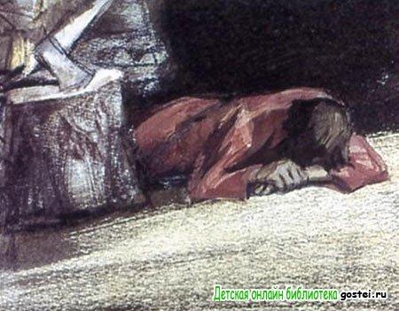 Герасим иногда ложился лицом вниз и долго так лежал
