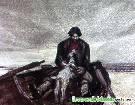 Муму смотрела на Герасима и виляла хвостиком